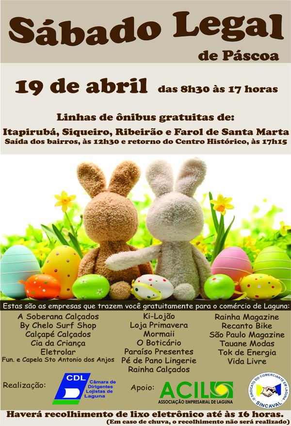 Sábado Legal de Páscoa – 19 de abril
