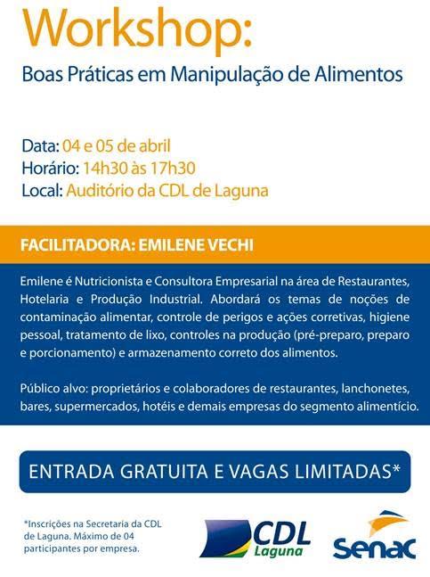 Workshop de Boas Práticas em Manipulação de Alimentos será realizado em Laguna