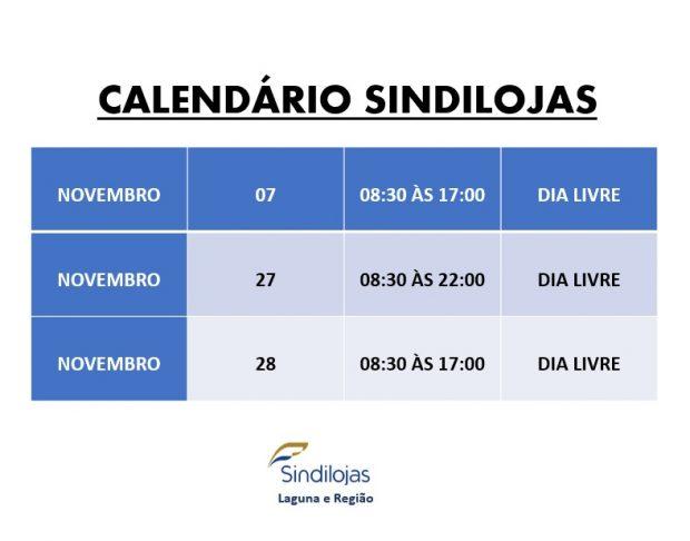 Calendário mês de Novembro